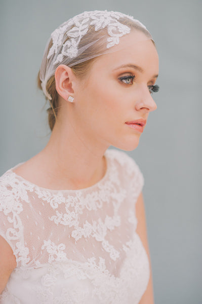English Tulle Bridal Cap - Style #1417