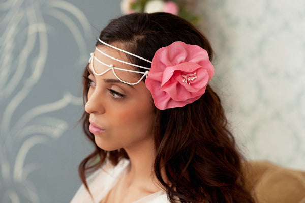 Ribbon and pearls headband Style#1205