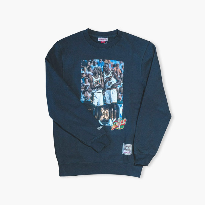 Crewneck - Seattle SuperSonics Kemp & Payton Photo Black Crewneck