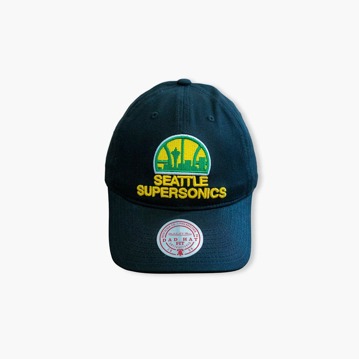 Hat - Seattle SuperSonics Original Black Skyline Dad Hat