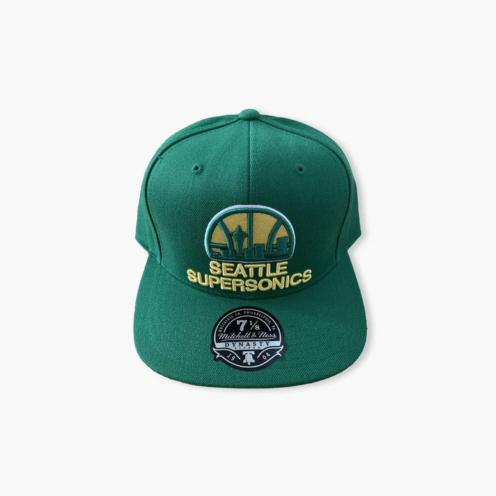 Hat - Seattle SuperSonics Skyline Kelly Green Fitted Hat