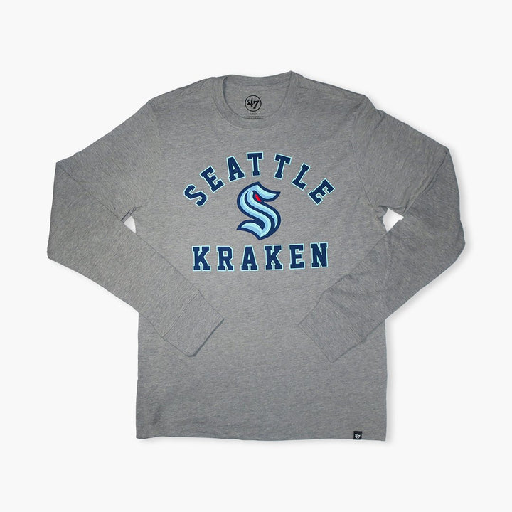 Long Sleeve T-Shirt - Seattle Kraken Slate Grey Varsity Arch Super Rival Long Sleeve Shirt