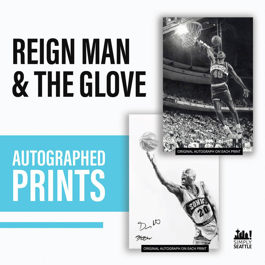 Print - AUTOGRAPHED & FRAMED PRINTS - Gary Payton + Shawn Kemp By Keegan Hall