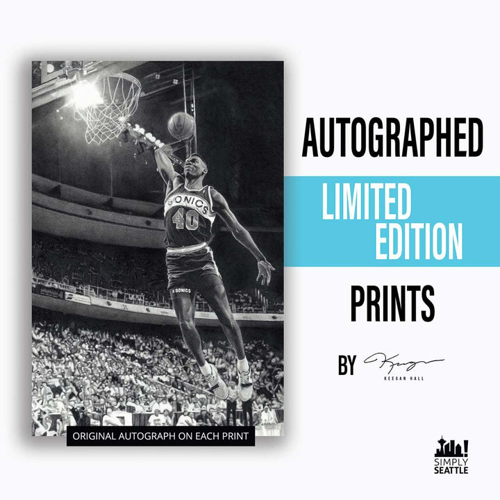 Print - AUTOGRAPHED Shawn Kemp Print By Keegan Hall