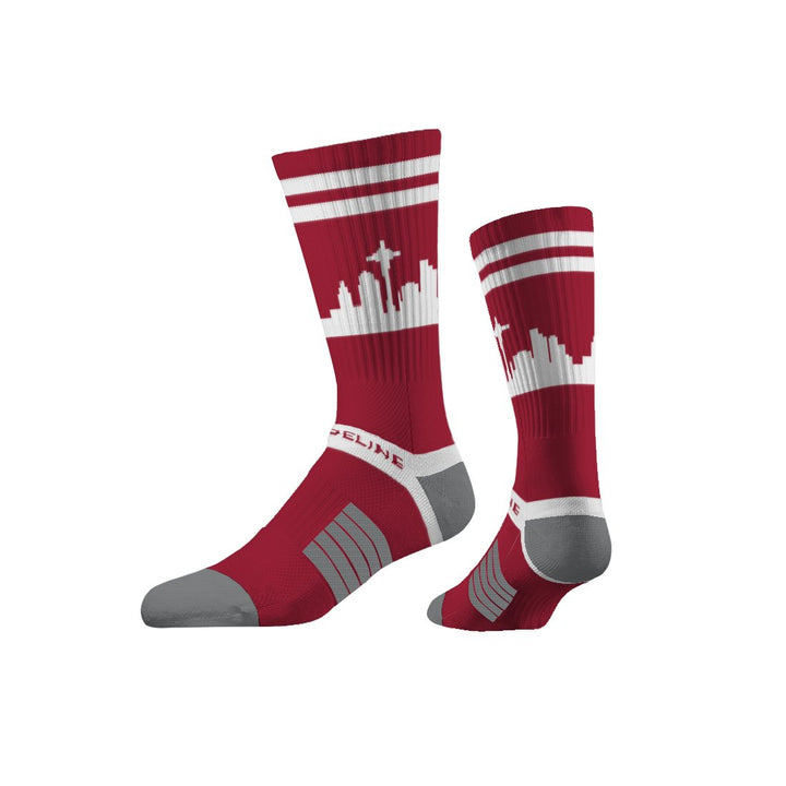 Socks - Seattle City Skyline Crimson Red Socks W/ White Stripes