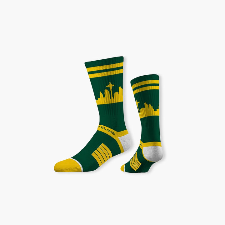 Socks - Seattle City Skyline Forest Green Socks W/ Gold Stripes