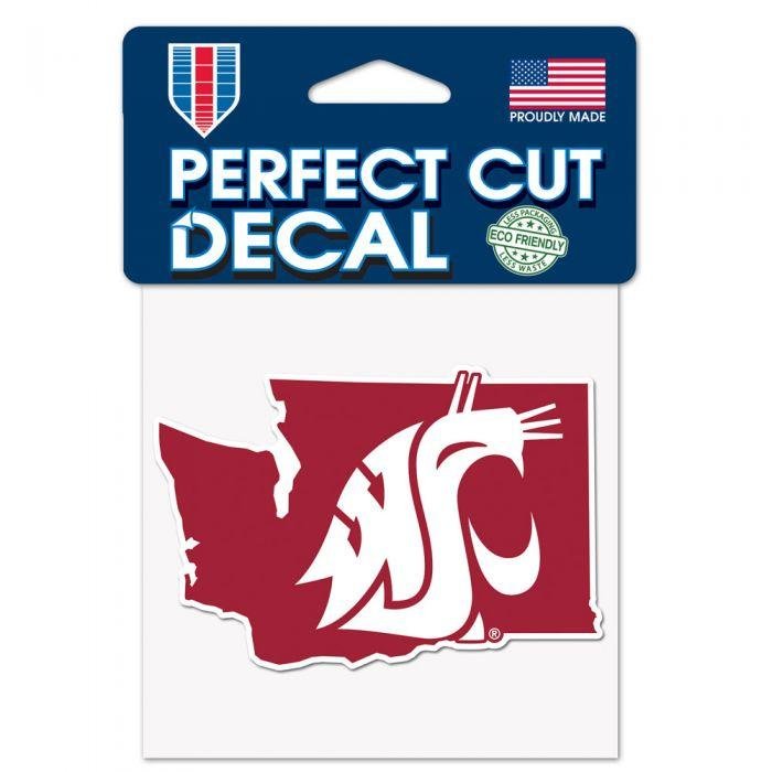 "Sticker - Washington State Cougars State Shaped 4"" X 4"" Decal"