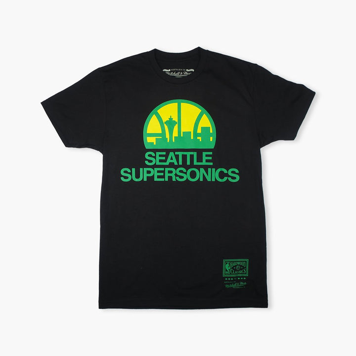 T-Shirt - Seattle SuperSonics Black Skyline Logo Premium T-Shirt