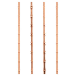 Stainless Steel Bamboo Straws - Set of 4