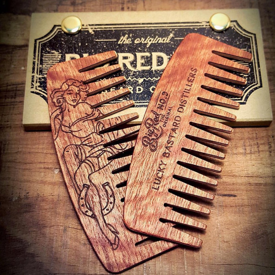 Big Red Beard Comb - Lucky Bastard Pin Up Edition