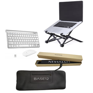 NEXSTAND with BASE12 keyboard, mouse and black carry case (Silvery/white set)