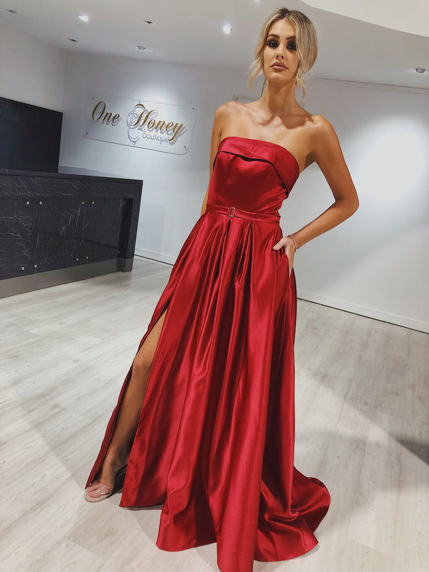 EVIE Red Strapless Formal Gown Private Label$ AfterPay Humm ZipPay LayBuy Sezzle