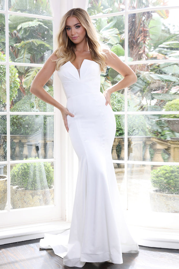 Tinaholy Couture BA651 White Ivory Mermaid Strapless Gown Formal Dress {vendor} AfterPay Humm ZipPay LayBuy Sezzle