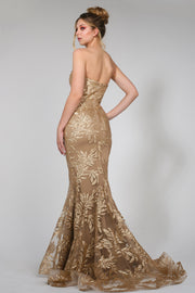 Tina Holly Couture TA107 Gold Sequin & Mesh Strapless Mermaid Formal Dress