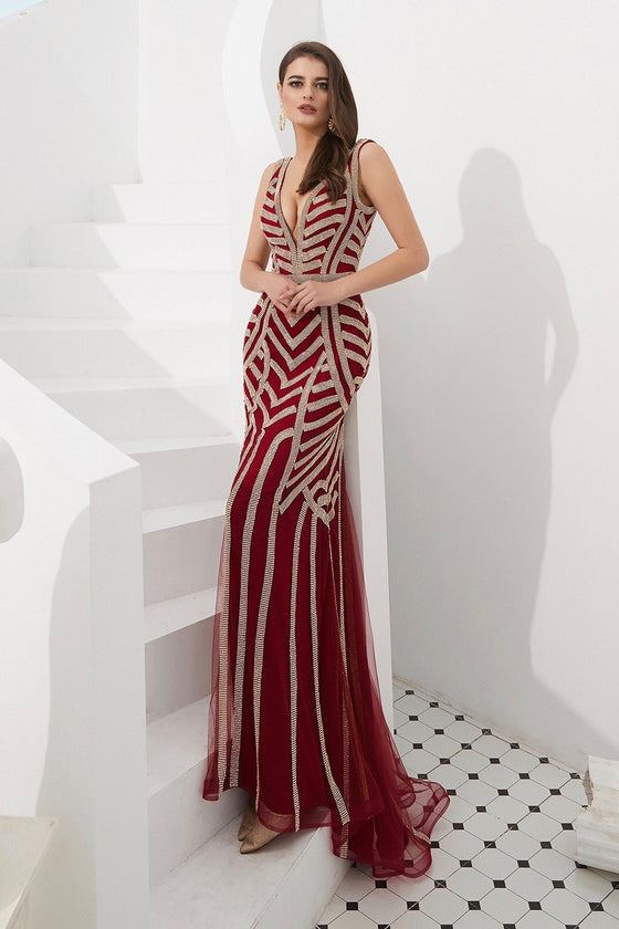 DIAMONDS 2.0 Thick Strap Red & Gold Diamante Sequin Formal Gown