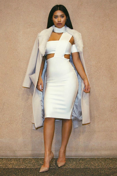 Honey Couture White Cut Out Bandage Dress , Bandage Dress Honey Couture, One Honey Boutique  Australian Online Store - 1