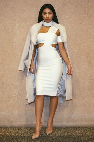 Honey Couture White Cut Out Bandage Dress , Bandage Dress - Honey Couture, One Honey Boutique  - 1