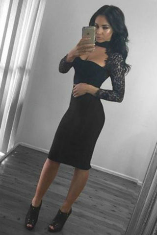 Honey Couture Black Lace Long Sleeve Dress