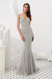 Honey Couture DIAMONDS Grey Sequin Mermaid Formal Gown Dress Private Label$ AfterPay Humm ZipPay LayBuy Sezzle