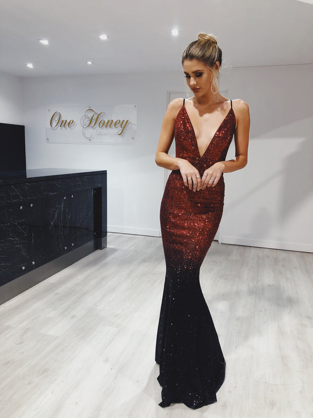Honey Couture ELECTRA Black & Red Ombre Glitter Formal Gown Dress