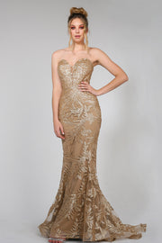Tina Holly Couture TA107 Gold Sequin & Mesh Strapless Mermaid Formal Dress {vendor} AfterPay Humm ZipPay LayBuy Sezzle