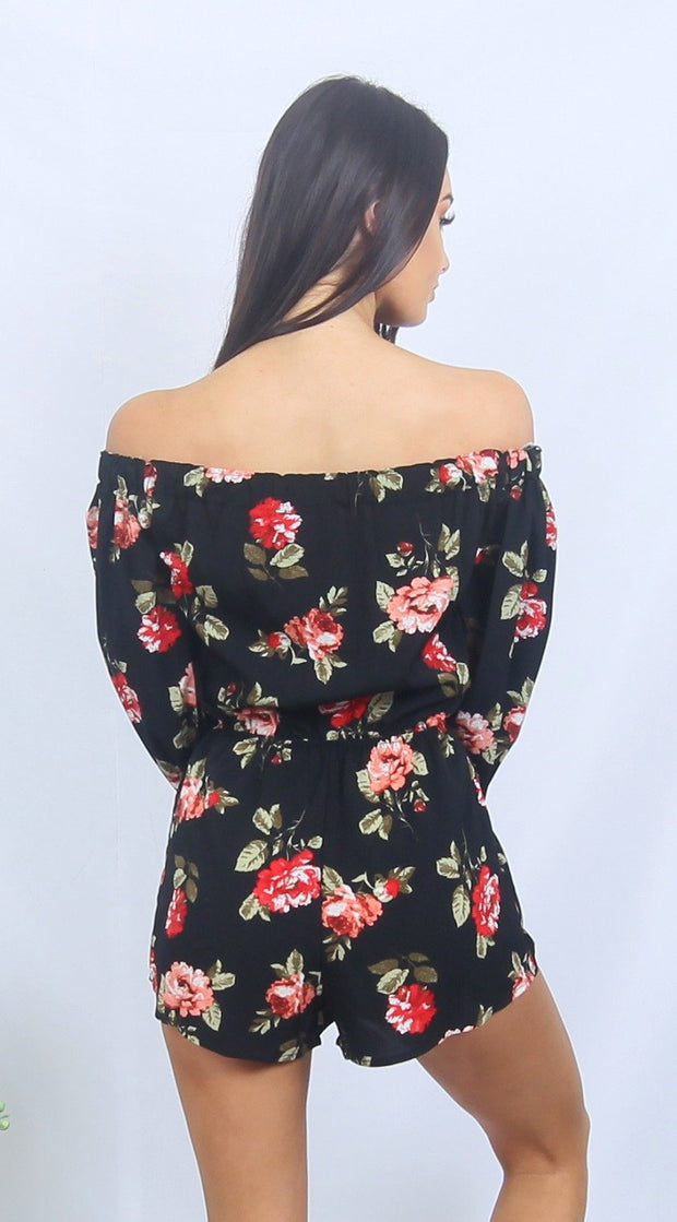 Black & Red ROSIE Off Shoulder Floral Romper Playsuit One Honey Boutique$ AfterPay Humm ZipPay LayBuy Sezzle