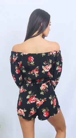 Black & Red ROSIE Off Shoulder Floral Romper Playsuit One Honey Boutique One Honey Boutique AfterPay ZipPay OxiPay Laybuy Sezzle Free Shipping