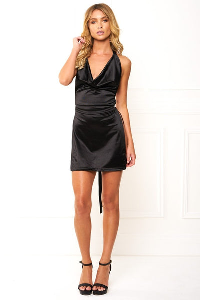 Honey Couture FELICIA Flash Black Halter Mini Dress