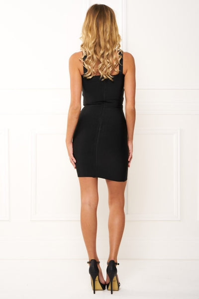 Honey Couture JEWELS Jewelled Black Bandage Dress