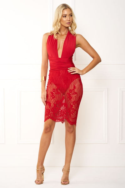 Honey Couture RANIA Red Wrap Tie Crochet Midi Dress