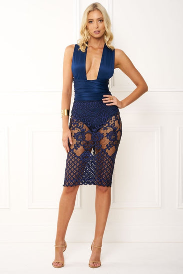 Honey Couture BRENDA Navy Blue Wrap Tie Crochet Lace Midi DressHoney CoutureOne Honey Boutique AfterPay OxiPay ZipPay