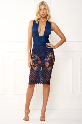 Honey Couture BRENDA Navy Blue Wrap Tie Crochet Lace Midi Dress Honey Couture One Honey Boutique AfterPay ZipPay OxiPay Sezzle Free Shipping