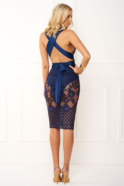 Honey Couture BRENDA Navy Blue Wrap Tie Crochet Lace Midi Dress