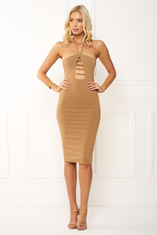 Honey Couture IVY Brown Halter Tie Midi Dress Honey Couture$ AfterPay Humm ZipPay LayBuy Sezzle
