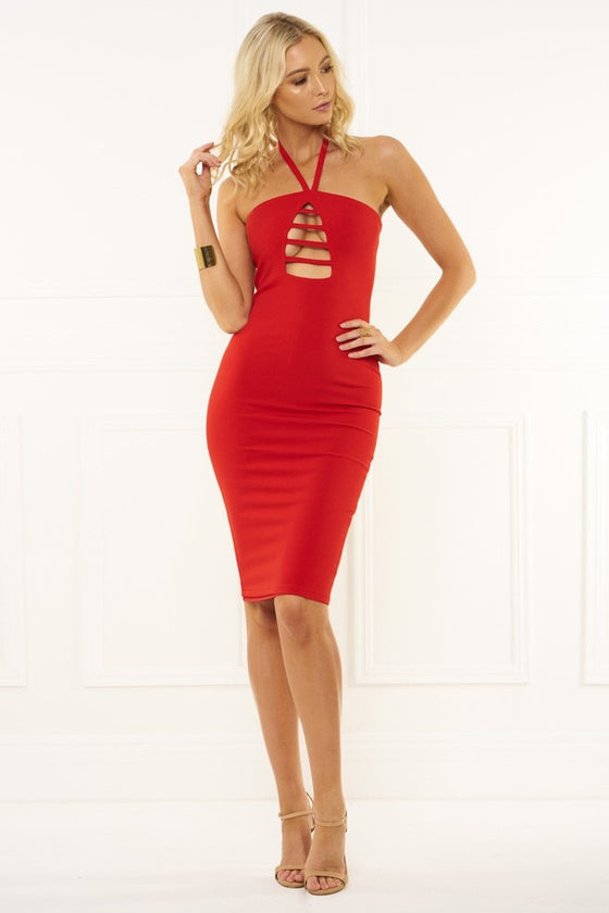 Honey Couture IVY Red Halter Tie Midi DressHoney CoutureOne Honey Boutique AfterPay OxiPay ZipPay