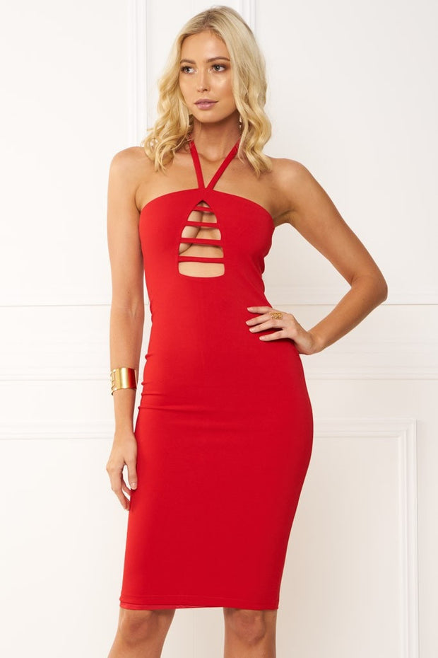Honey Couture IVY Red Halter Tie Midi Dress Honey Couture$ AfterPay Humm ZipPay LayBuy Sezzle