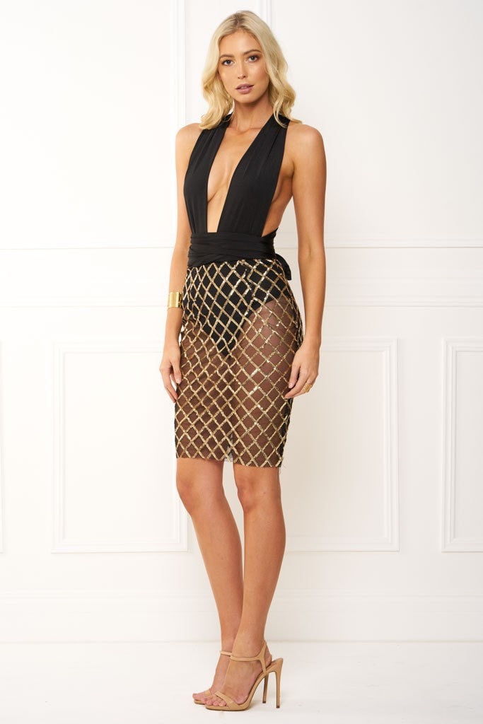 Honey Couture LIANA CrissCross Rose Gold Sequin Black Wrap Tie Mesh Midi Dress