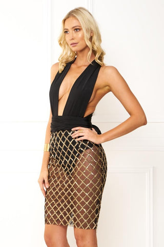 Honey Couture LIANA CrissCross Rose Gold Sequin Black Wrap Tie Mesh Midi Dress Honey Couture One Honey Boutique AfterPay ZipPay OxiPay Sezzle Free Shipping