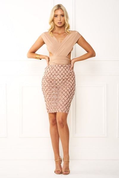Honey Couture LIANA CrissCross Rose Gold Sequin Nude Wrap Tie Mesh Midi Dress