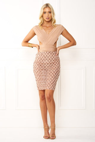 Honey Couture LIANA CrissCross Rose Gold Sequin Nude Wrap Tie Mesh Midi Dress Honey Couture One Honey Boutique AfterPay ZipPay OxiPay Sezzle Free Shipping