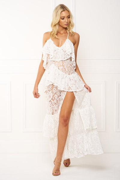 Honey Couture ANGELICA White Lace Peplum Maxi Dress