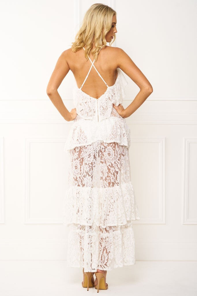 Honey Couture ANGELICA White Lace Peplum Maxi Dress Australian Online Store One Honey Boutique AfterPay ZipPay