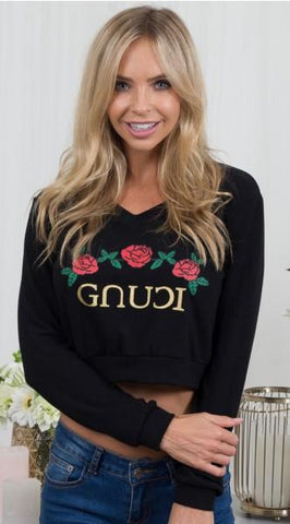 NOT G*CCI Black Roses Crop Top Jumper One Honey Boutique One Honey Boutique AfterPay ZipPay OxiPay Laybuy Sezzle Free Shipping