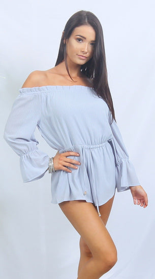 LOLA Blue Off Shoulder Romper PlaysuitOne Honey BoutiqueOne Honey Boutique AfterPay OxiPay ZipPay