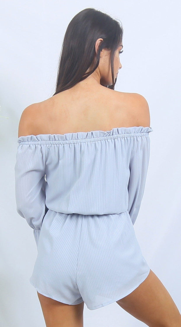LOLA Blue Off Shoulder Romper Playsuit One Honey Boutique$ AfterPay Humm ZipPay LayBuy Sezzle