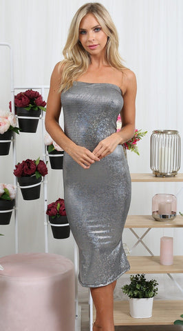 CARDI Silver Metallic Holographic Strapless Bodycon Dress One Honey Boutique One Honey Boutique AfterPay ZipPay OxiPay Laybuy Sezzle Free Shipping