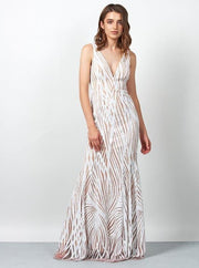 Honey Couture YASMIN White & Nude Sequin Formal Gown {vendor} AfterPay Humm ZipPay LayBuy Sezzle