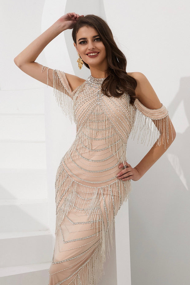 STELLA Champagne & Silver Beaded Halter Neck Off Shoulder Formal Gown Dress Private Label$ AfterPay Humm ZipPay LayBuy Sezzle