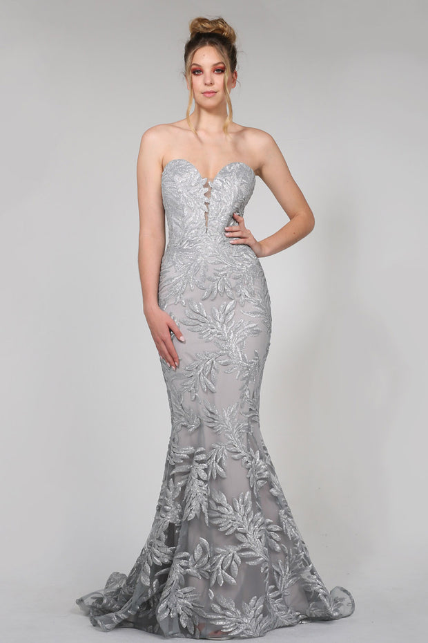 Tina Holly Couture TA107 Silver Sequin & Mesh Strapless Mermaid Formal Dress {vendor} AfterPay Humm ZipPay LayBuy Sezzle