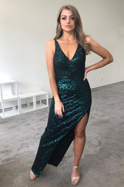 Tina Holly Couture TA007 Emerald Green Sequin Midi Cocktail Dress Tina Holly Couture$ AfterPay Humm ZipPay LayBuy Sezzle
